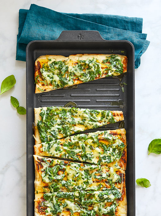 Grilled Spinach, Basil and Honey Pizza made with the Nonstick Double Burner Grill Meal Set