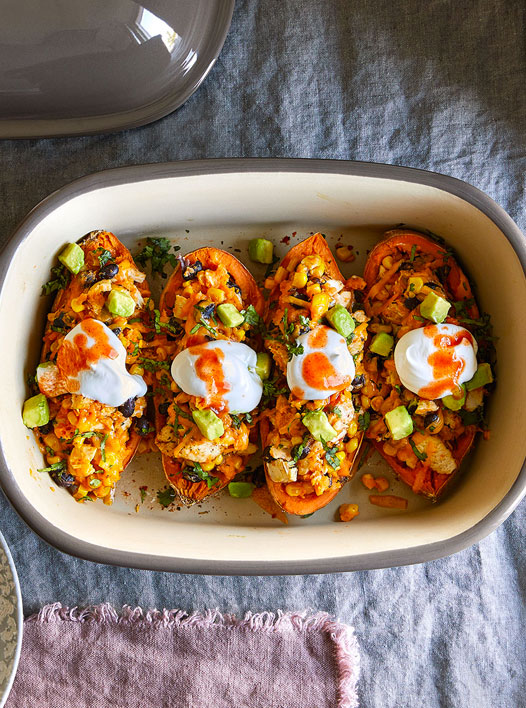 Southwest Stuffed Sweet Potatoes made with Deep Covered Baker Set
