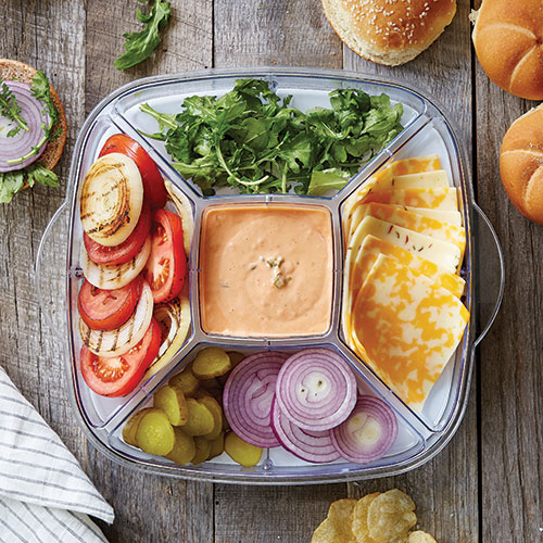 5-Section Tray for Large Square Cool & Serve