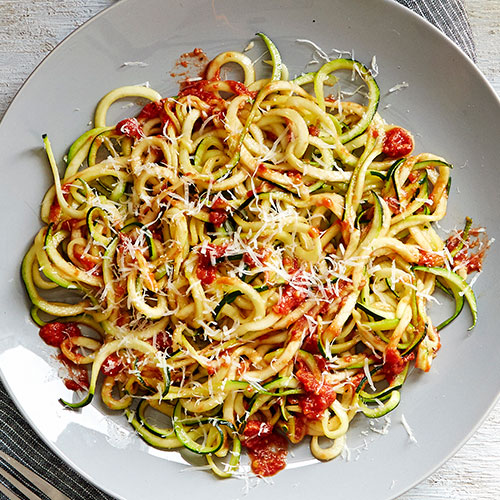 Zucchini Noodles with Crushed Tomato Sauce