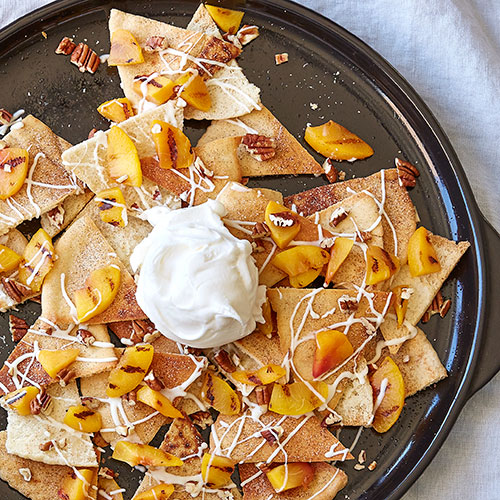 Peaches and Cream Dessert Nachos