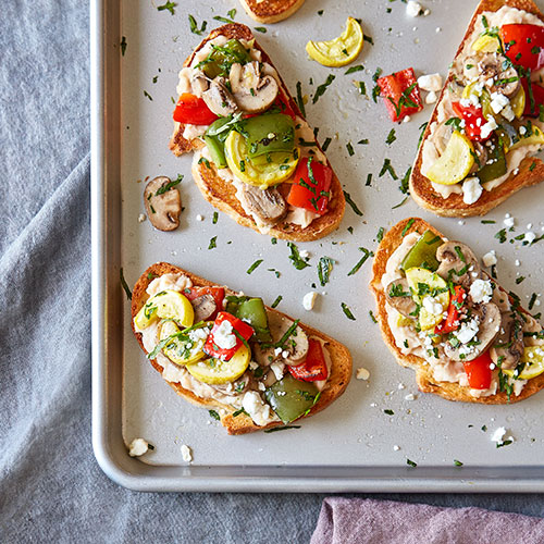 Roasted Vegetable Toasts with White Bean Hummus