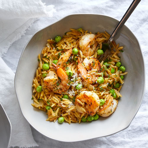 Toasted Orzo Skillet With Shrimp