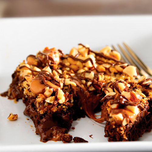 Warm Nutty Caramel Brownies